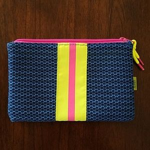 Ipsy navy neon strip cosmetic bag